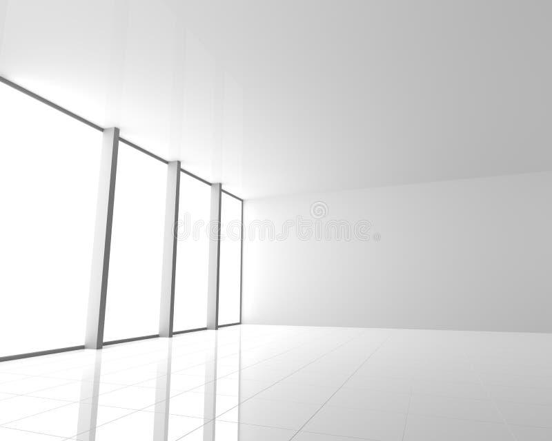 Κενό σύγχρονο άσπρο εσωτερικό με τα παράθυρα διανυσματική απεικόνιση