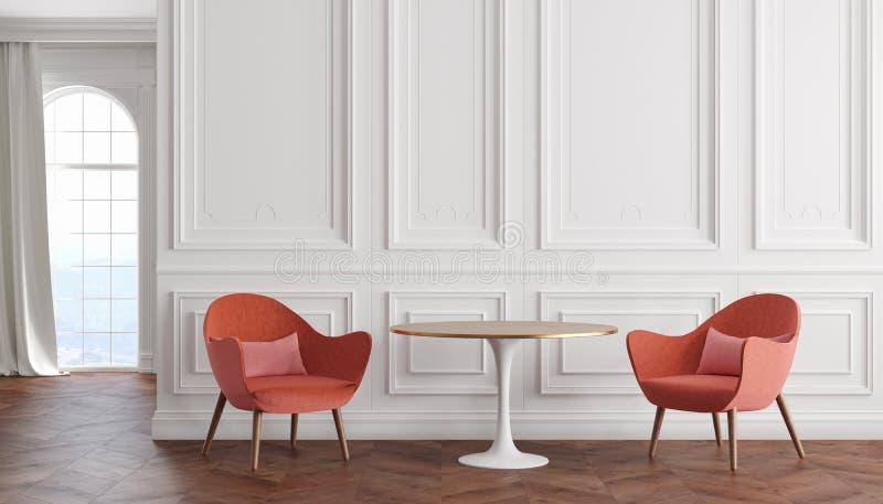 Κενό σύγχρονο κλασικό εσωτερικό δωματίων με τους άσπρους τοίχους, τις κόκκινες πολυθρόνες, τον πίνακα, την κουρτίνα και το παράθυ διανυσματική απεικόνιση