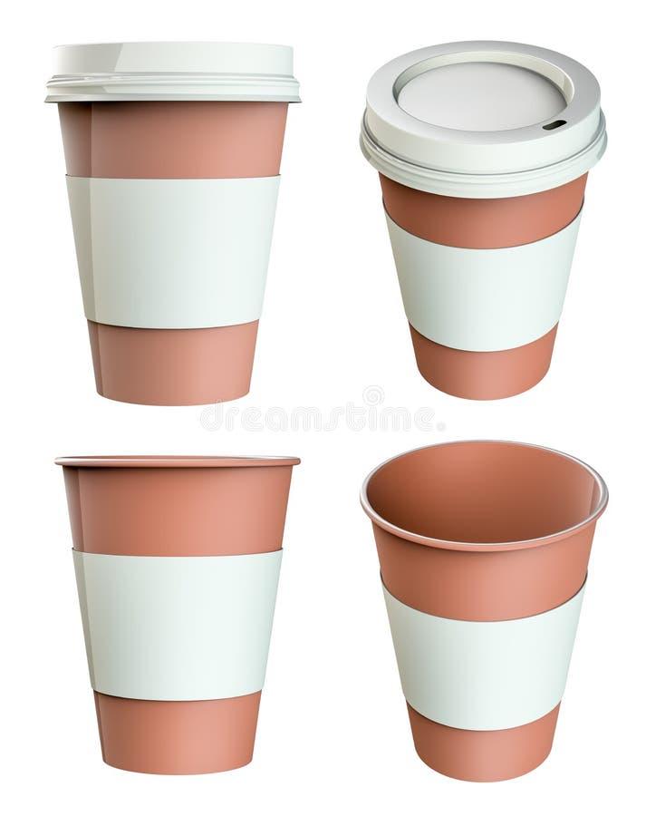 Κενό σύνολο φλυτζανιών καφέ εγγράφου ελεύθερη απεικόνιση δικαιώματος