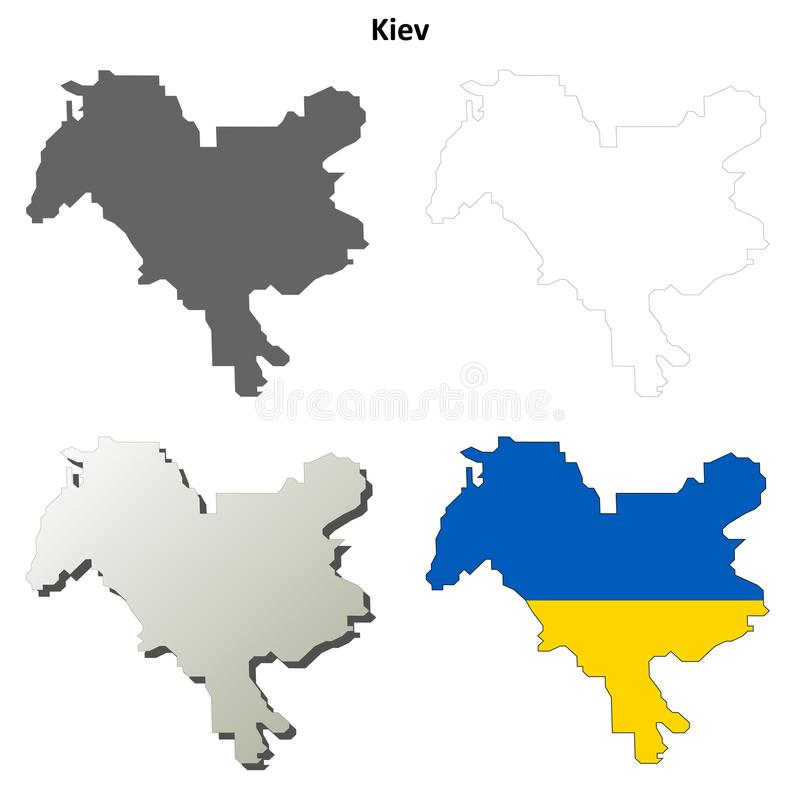 Κενό σύνολο χαρτών περιλήψεων πόλεων του Κίεβου απεικόνιση αποθεμάτων