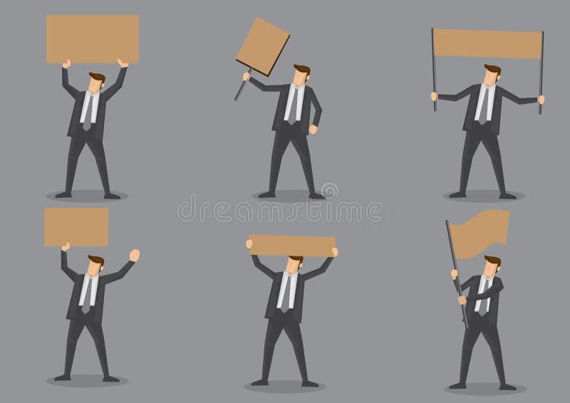 Κενό σύνολο εικονιδίων αφισσών εκμετάλλευσης επιχειρηματιών απεικόνιση αποθεμάτων