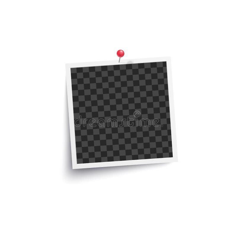 Κενό τετραγωνικό κενό πλαίσιο φωτογραφιών λευκωμάτων που καρφώνεται σε ένα διάνυσμα προτύπων τοίχων που απομονώνεται διανυσματική απεικόνιση