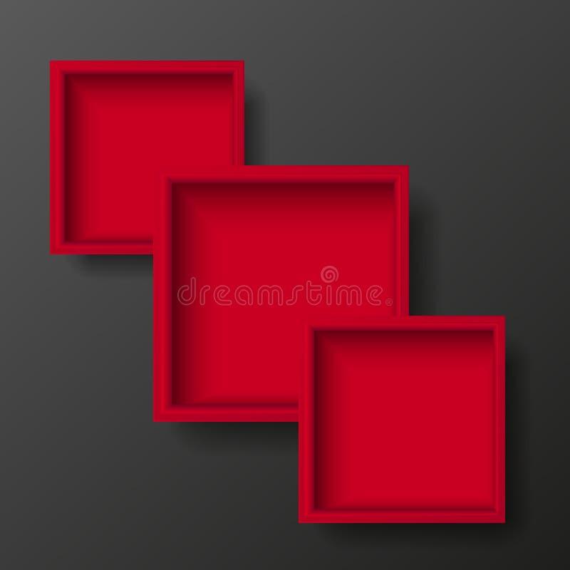 Κενό της κόκκινης τοπ άποψης κιβωτίων διάνυσμα διανυσματική απεικόνιση