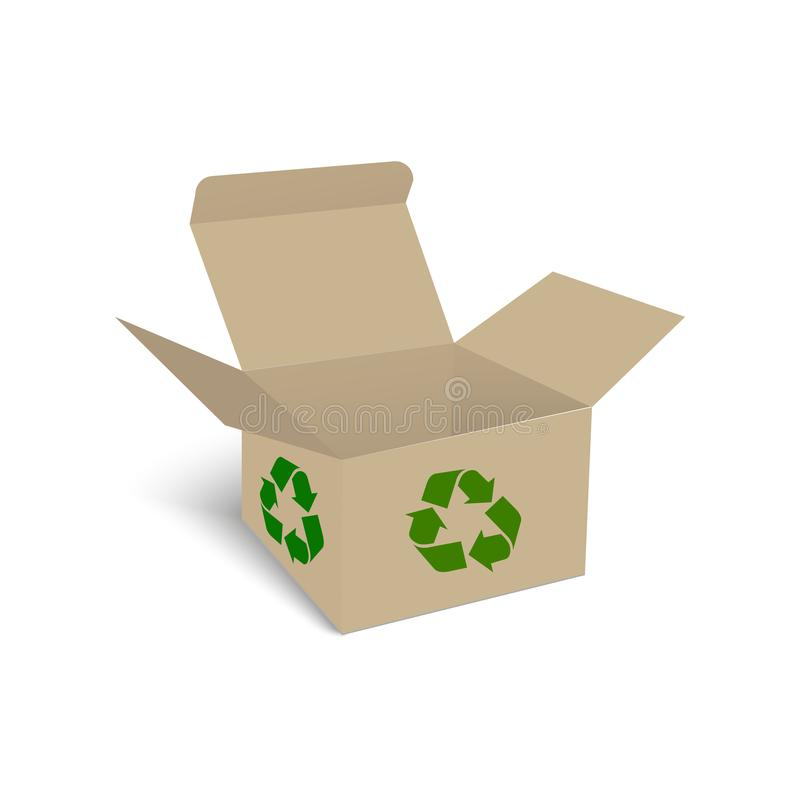 Κενό του κουτιού από χαρτόνι για τα απορρίμματα των απορριμάτων Ανακυκλώστε το κιβώτιο διάνυσμα διανυσματική απεικόνιση