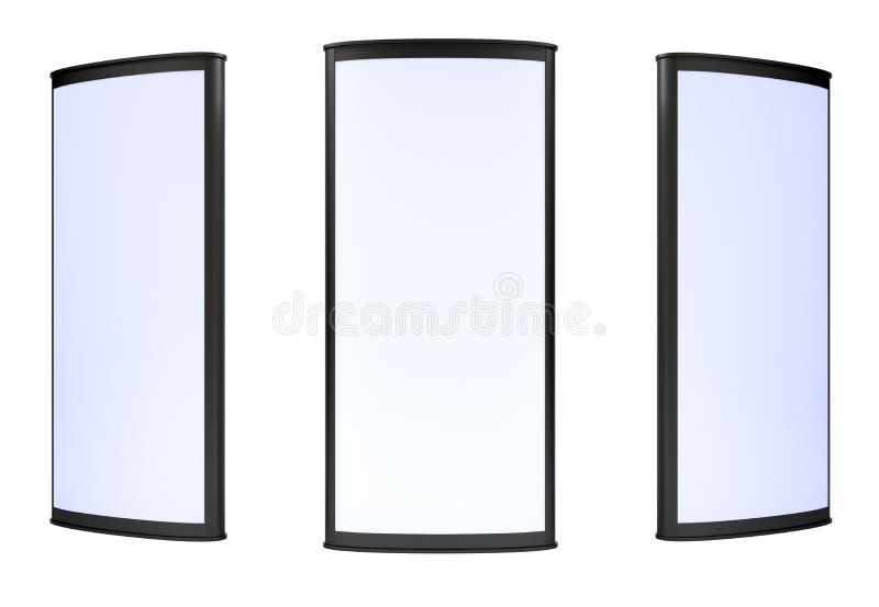 Κενό τρία lightboxes στο άσπρο υπόβαθρο στοκ εικόνες με δικαίωμα ελεύθερης χρήσης
