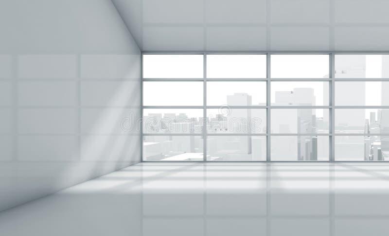 Κενό τρισδιάστατο δωμάτιο με τη εικονική παράσταση πόλης στο παράθυρο διανυσματική απεικόνιση