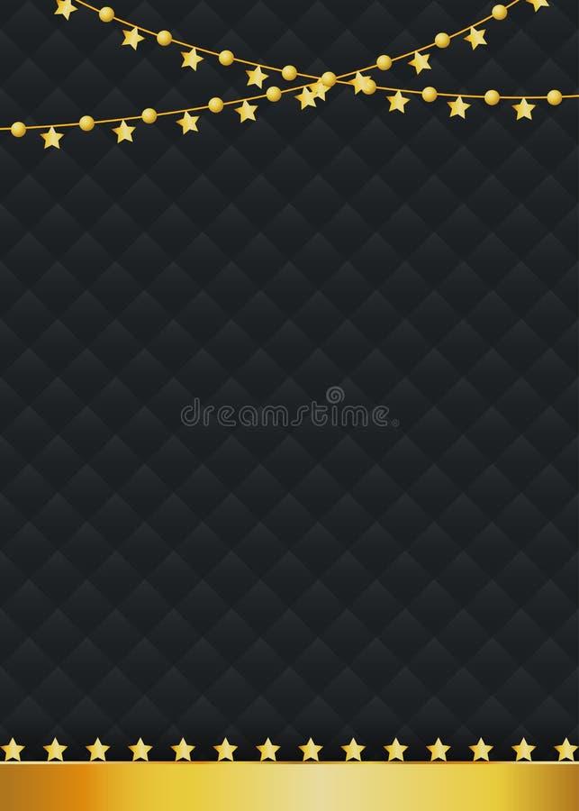 Κενό υπόβαθρο πολυτέλειας με τα χρυσά διακοσμητικά αστέρια διανυσματική απεικόνιση