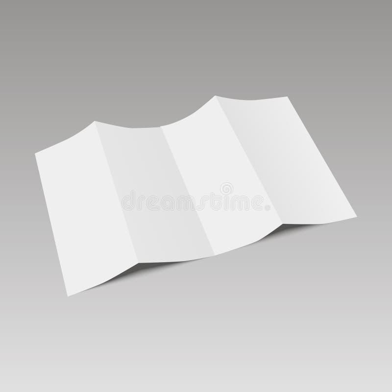 Κενό φυλλάδιο εγγράφου τεσσάρων διπλωμένο πτυχών, ιπτάμενο, εφημερίδα μεγάλου σχήματος επίσης corel σύρετε το διάνυσμα απεικόνιση διανυσματική απεικόνιση