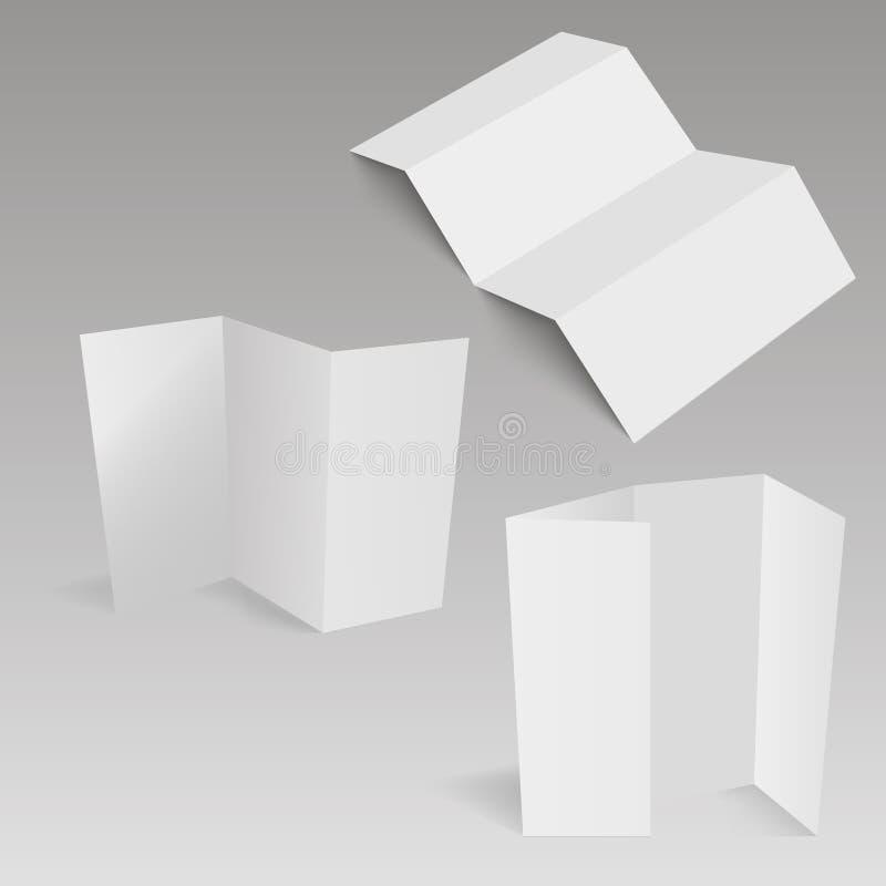 Κενό φυλλάδιο εγγράφου τεσσάρων διπλωμένο πτυχών, ιπτάμενο, εφημερίδα μεγάλου σχήματος επίσης corel σύρετε το διάνυσμα απεικόνιση απεικόνιση αποθεμάτων