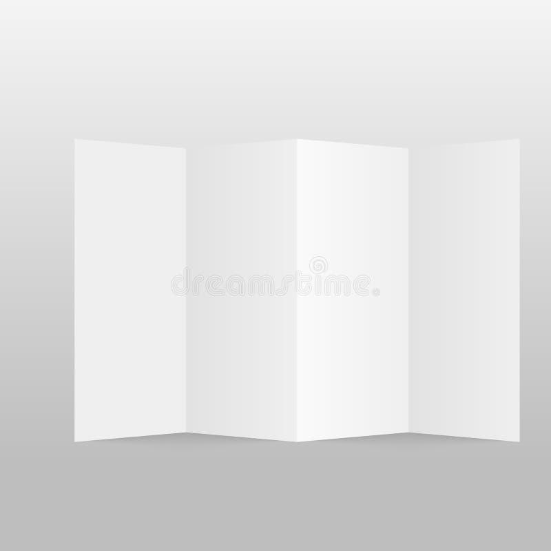 Κενό φυλλάδιο εγγράφου τεσσάρων διπλωμένο πτυχών, ιπτάμενο, εφημερίδα μεγάλου σχήματος επίσης corel σύρετε το διάνυσμα απεικόνιση ελεύθερη απεικόνιση δικαιώματος