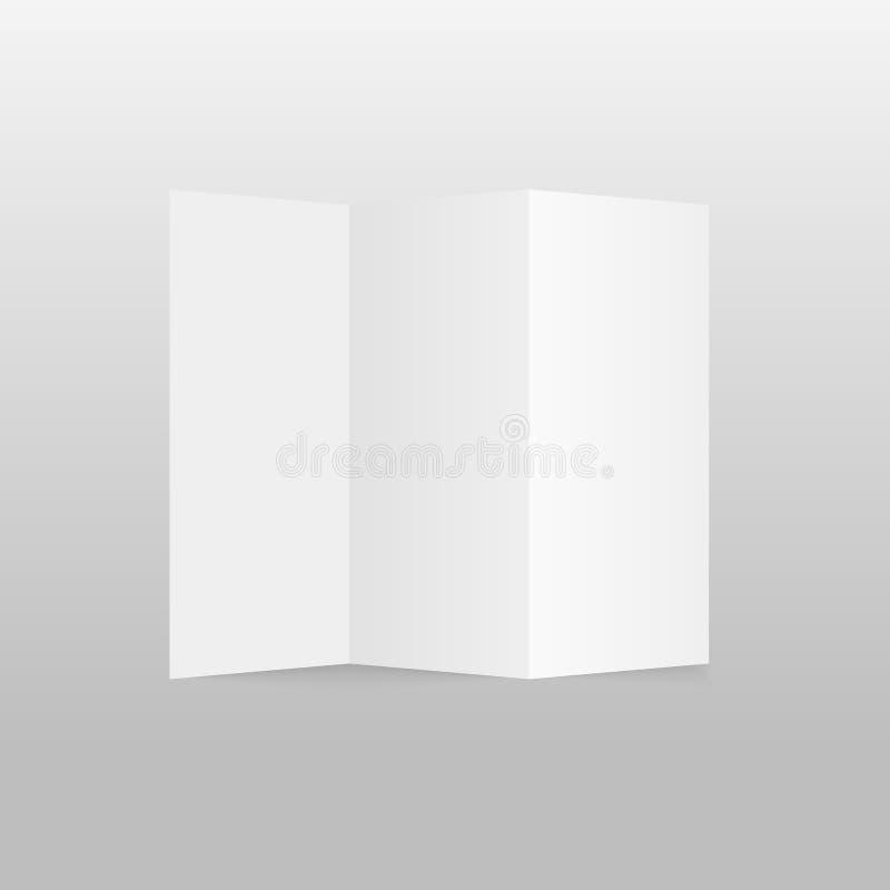 Κενό φυλλάδιο εγγράφου τριών διπλωμένο πτυχών, ιπτάμενο, εφημερίδα μεγάλου σχήματος επίσης corel σύρετε το διάνυσμα απεικόνισης απεικόνιση αποθεμάτων