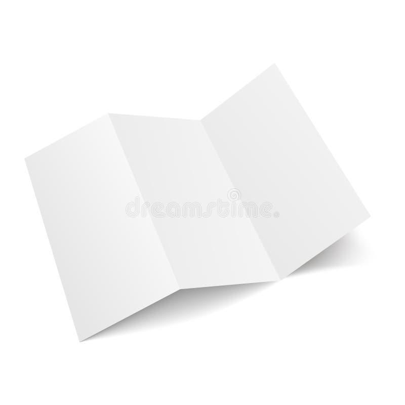 Κενό φυλλάδιο εγγράφου τριών διπλωμένο πτυχών, ιπτάμενο, εφημερίδα μεγάλου σχήματος επίσης corel σύρετε το διάνυσμα απεικόνισης διανυσματική απεικόνιση