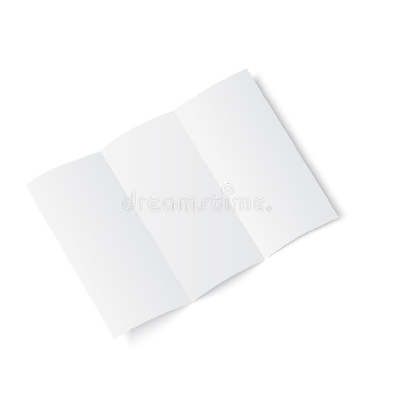Κενό φυλλάδιο εγγράφου τριών διπλωμένο πτυχών, ιπτάμενο, εφημερίδα μεγάλου σχήματος επίσης corel σύρετε το διάνυσμα απεικόνισης ελεύθερη απεικόνιση δικαιώματος