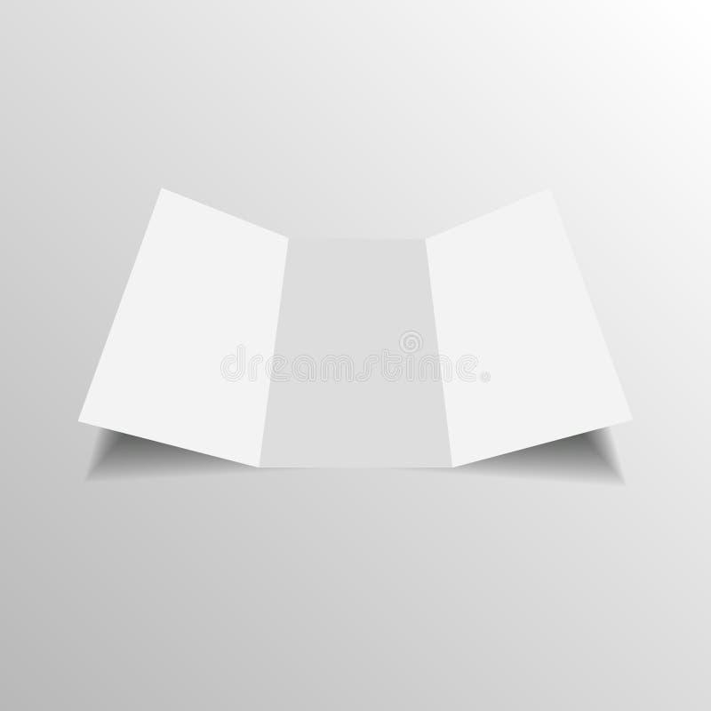 Κενό φυλλάδιο εγγράφου τριών διπλωμένο πτυχών, ιπτάμενο, εφημερίδα μεγάλου σχήματος διανυσματική απεικόνιση
