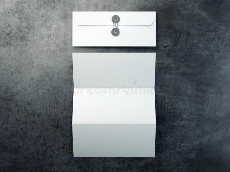 Κενό φυλλάδιο και άσπρος φάκελος τρισδιάστατη απόδοση απεικόνιση αποθεμάτων