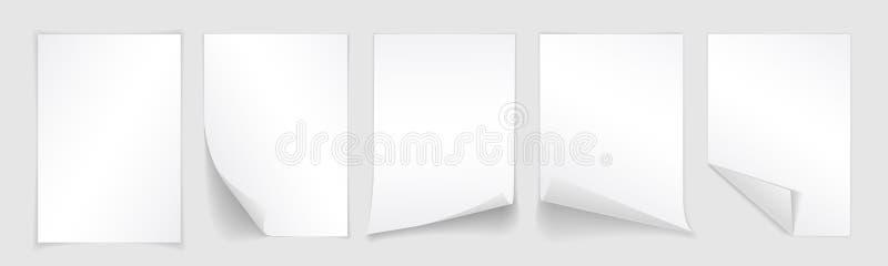 Κενό A4 φύλλο της Λευκής Βίβλου με την κατσαρωμένη γωνία και της σκιάς, πρότυπο για το σχέδιό σας Σύνολο επίσης corel σύρετε το δ διανυσματική απεικόνιση