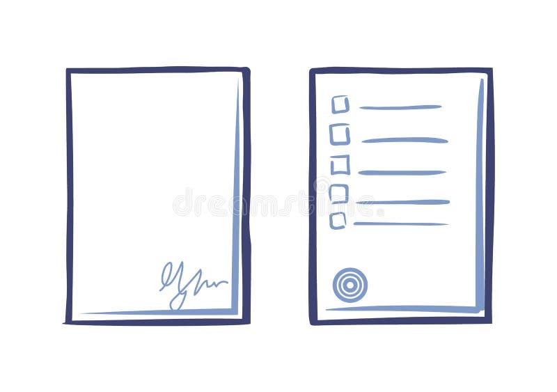 Κενό φύλλο του εγγράφου με την υπογραφή και τον κατάλογο ακρών απεικόνιση αποθεμάτων