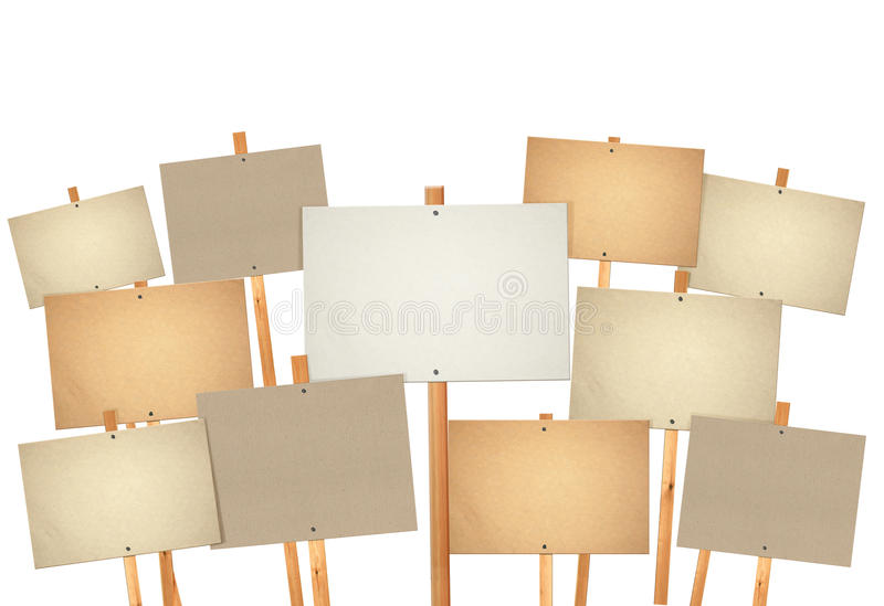 κενό χαρτόνι πολύ σημάδι διαμαρτυρίας στοκ εικόνα