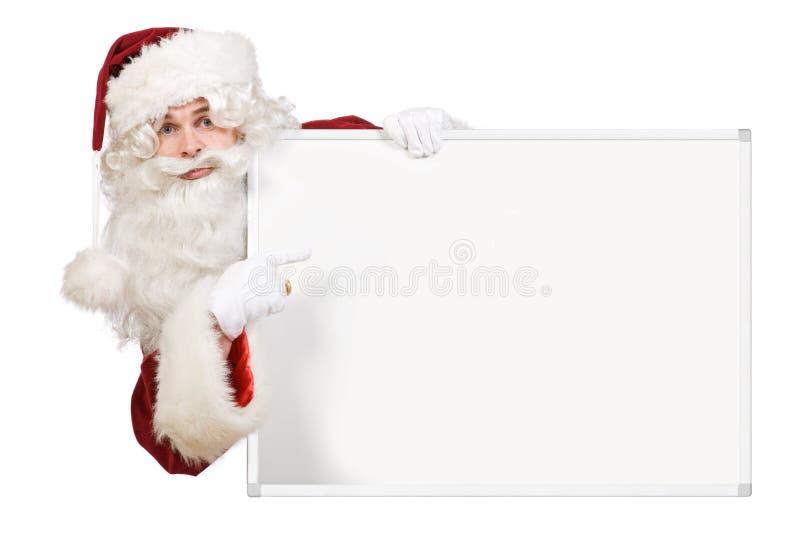 κενό χαρτόνι που δείχνει το santa  στοκ εικόνες με δικαίωμα ελεύθερης χρήσης