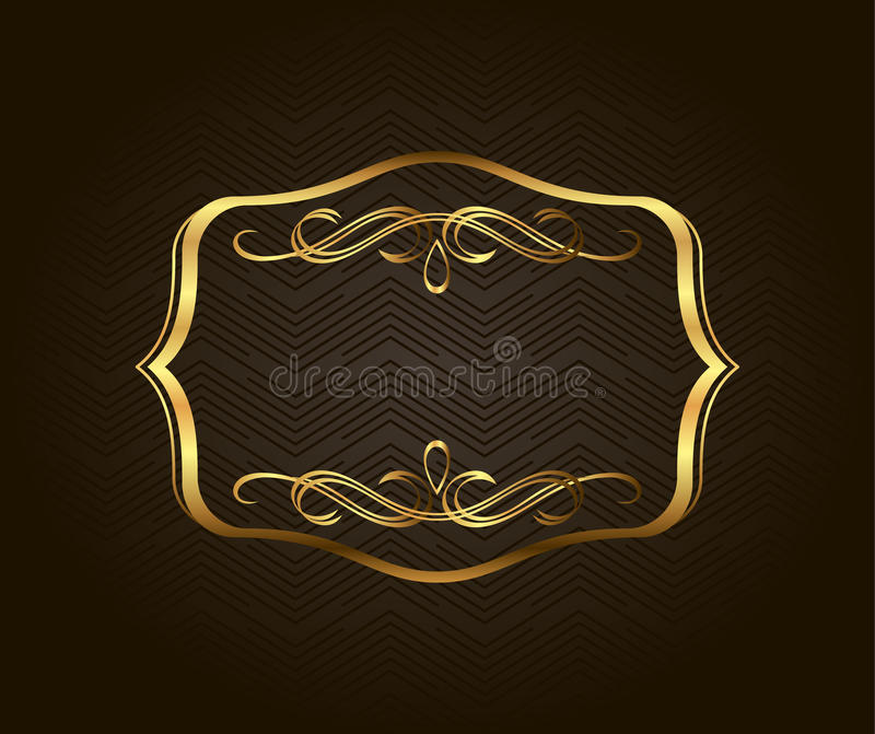 Κενό χρυσό εκλεκτής ποιότητας πλαίσιο, έμβλημα, ετικέτα, διανυσματικό EPS10 Χρυσός διακοσμητικός με τη θέση για το κείμενο διανυσματική απεικόνιση