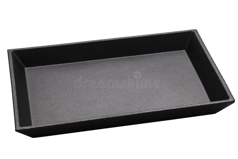 Κενό χυτό ορθογώνιο, χυτός δίσκος σιδήρου, απομονωμένος σε λευκό φόντο με διαδρομή αποκοπής, πλευρική όψη στοκ εικόνες με δικαίωμα ελεύθερης χρήσης