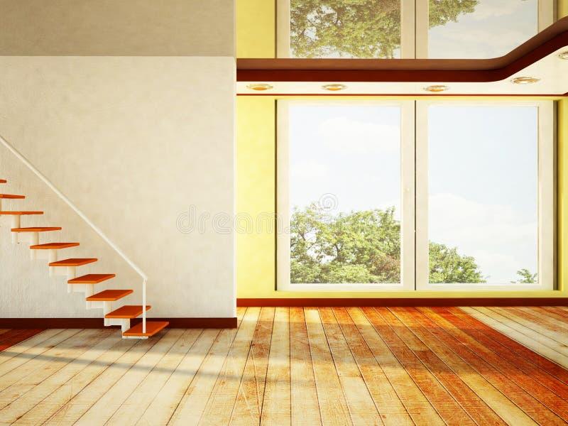Κενό δωμάτιο με ένα μεγάλο παράθυρο και σκαλοπάτια διανυσματική απεικόνιση