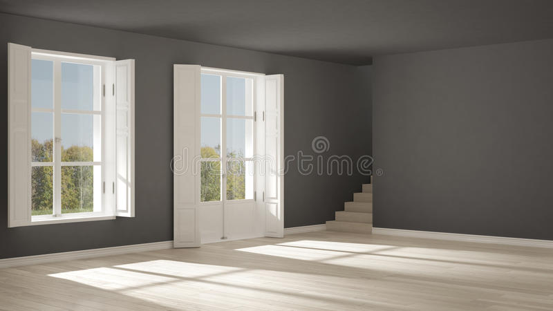Κενό δωμάτιο με τα παράθυρα και τα σκαλοπάτια, μινιμαλιστικό Σκανδιναβικό inte απεικόνιση αποθεμάτων