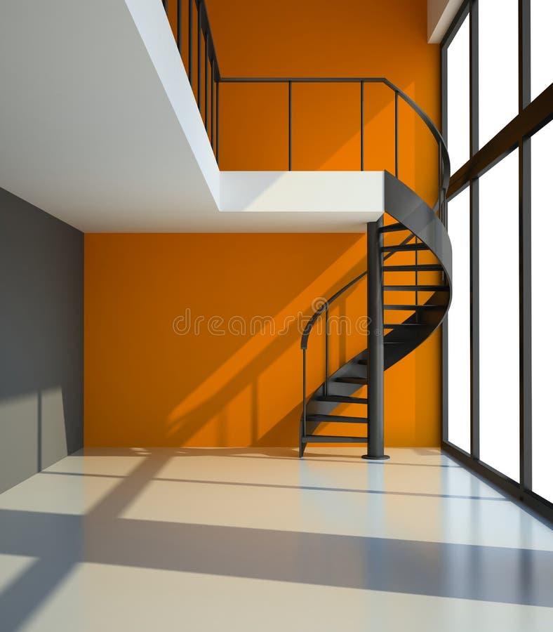 Κενό δωμάτιο με τη σκάλα και τον πορτοκαλή τοίχο απεικόνιση αποθεμάτων