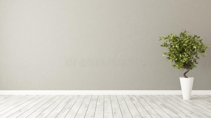 Κενό δωμάτιο με τις εγκαταστάσεις και τον καφετή τοίχο στοκ εικόνα