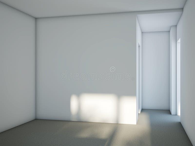 Κενό δωμάτιο με τους άσπρους τοίχους και το γκρίζο πάτωμα τσιμέντου διανυσματική απεικόνιση
