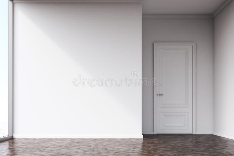 Κενό δωμάτιο με τους άσπρους τοίχους και το σκοτεινό ξύλινο πάτωμα στοκ φωτογραφία