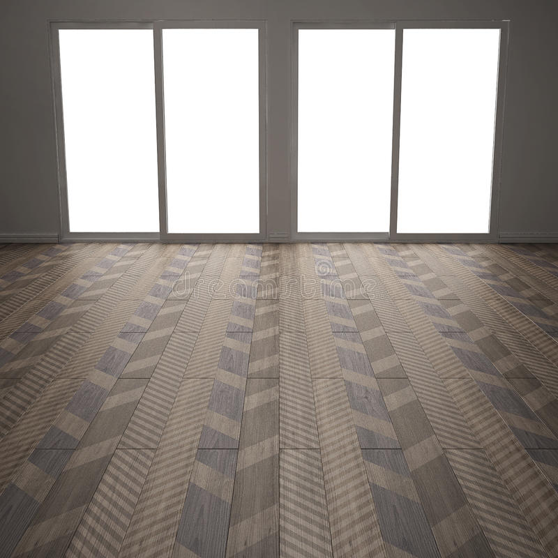 Κενό δωμάτιο με το ξύλινο πάτωμα παρκέ, διαγώνιο ψαροκόκκαλο, μίνι ελεύθερη απεικόνιση δικαιώματος
