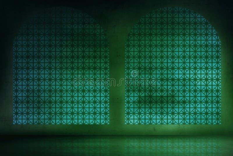Κενό δωμάτιο με το υπόβαθρο πράσινου φωτός στοκ φωτογραφίες