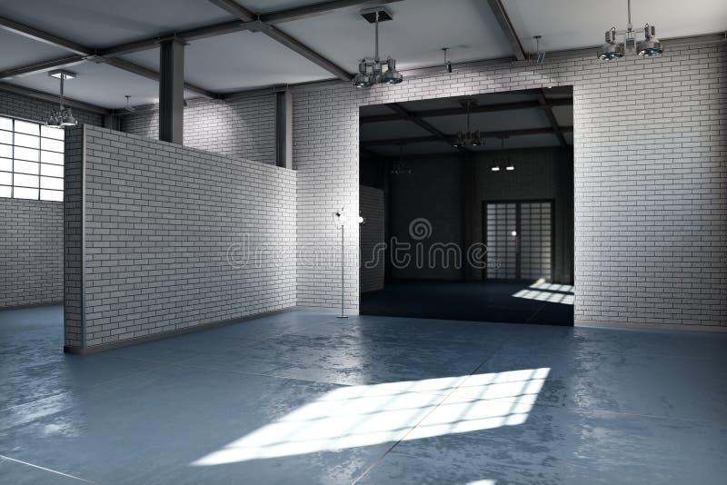 Κενό δωμάτιο μιας επιχείρησης ή μιας κατοικημένης ιδιοκτησίας με το γκρίζο τούβλο διανυσματική απεικόνιση