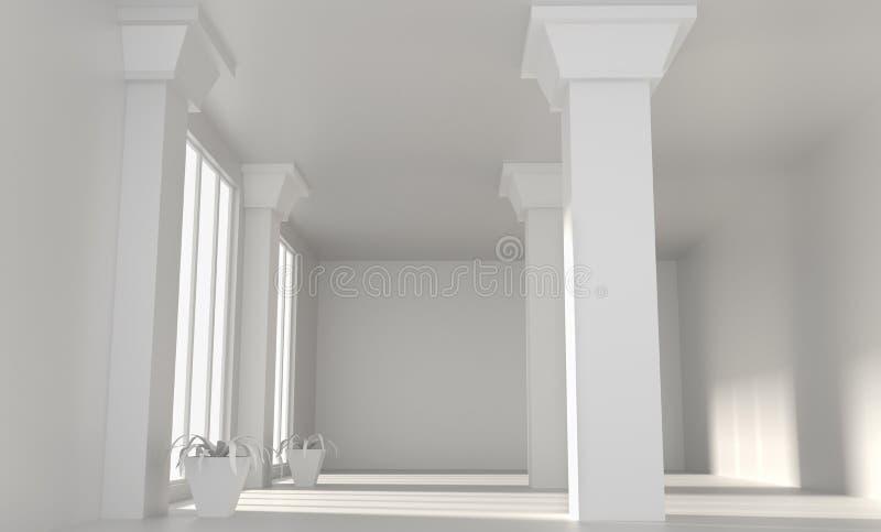 Κενό δωμάτιο σοφιτών με τους άσπρους τοίχους και τις στήλες διανυσματική απεικόνιση