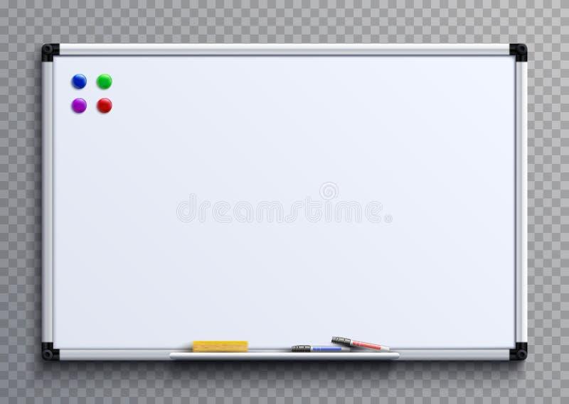 Κενό whiteboard με τις μάνδρες και τους μαγνήτες δεικτών Άσπρο απομονωμένο πίνακας διανυσματικό πρότυπο γραφείων επιχειρησιακής π απεικόνιση αποθεμάτων