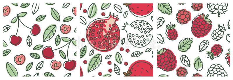 Κεράσι, γρανάτης και σμέουρο Άνευ ραφής σύνολο σχεδίων φρούτων Σχέδιο μόδας Τυπωμένη ύλη τροφίμων για τα ενδύματα, linens ή την κ διανυσματική απεικόνιση