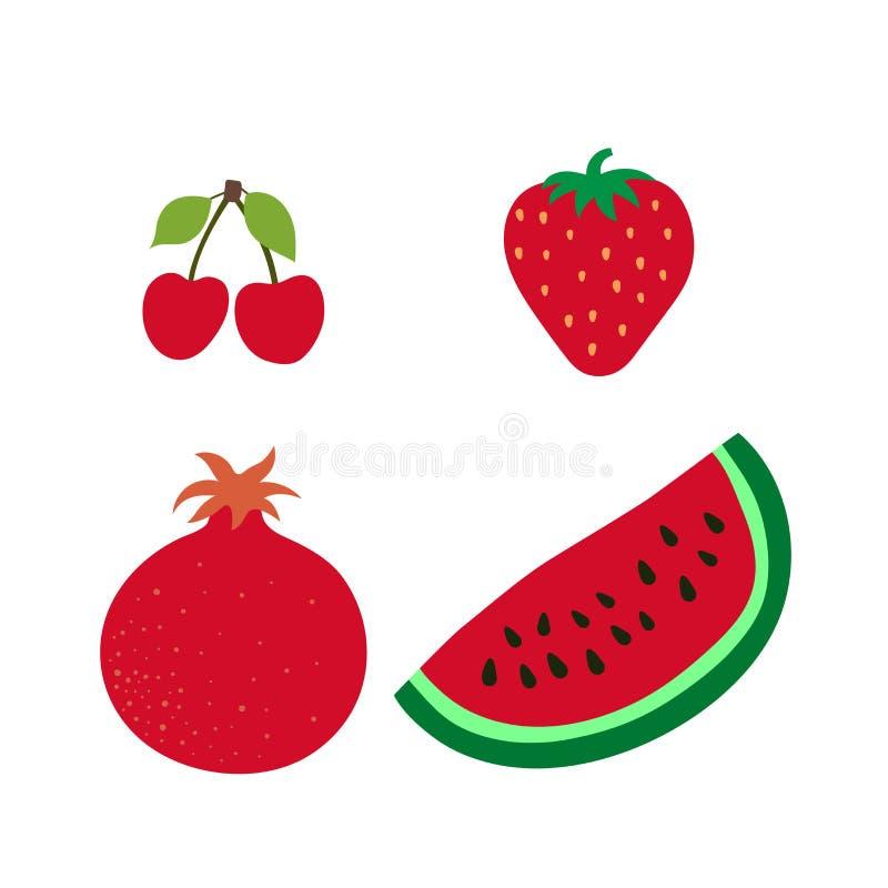 Κεράσι, γρανάτης, καρπούζι, εύθυμος και φράουλα Κόκκινα μούρα και φρούτα Συρμένο χέρι doodle διανυσματικό σκίτσο Γλυκές επιλογές  διανυσματική απεικόνιση