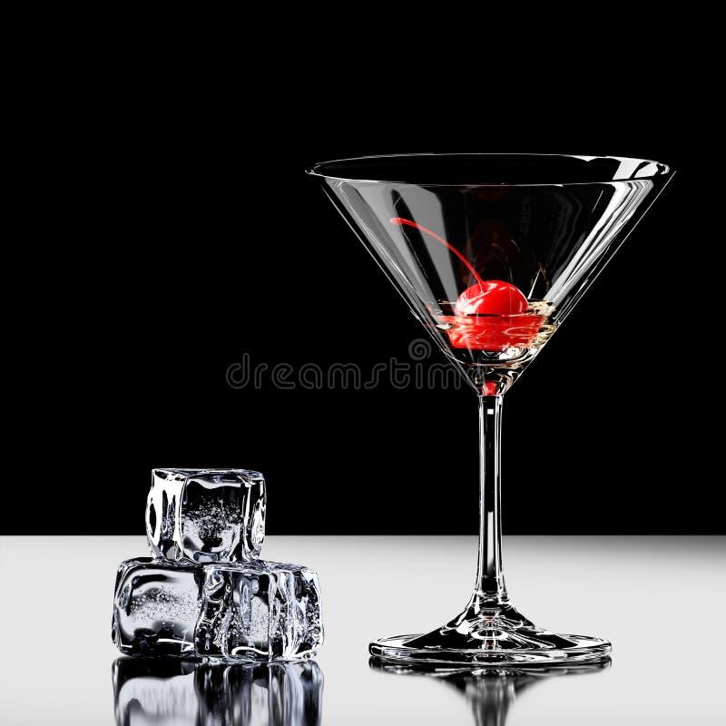 Κεράσι σε ένα martini γυαλί με τον πάγο τρισδιάστατη απόδοση ελεύθερη απεικόνιση δικαιώματος