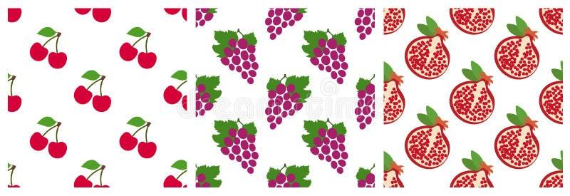 Κεράσι, σταφύλια και γρανάτης Άνευ ραφής σύνολο σχεδίων φρούτων και μούρων κήπων Σχέδιο μόδας Τυπωμένη ύλη τροφίμων για τα ενδύμα απεικόνιση αποθεμάτων