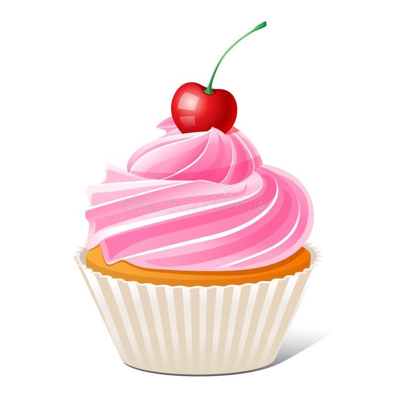 κεράσι cupcake διανυσματική απεικόνιση