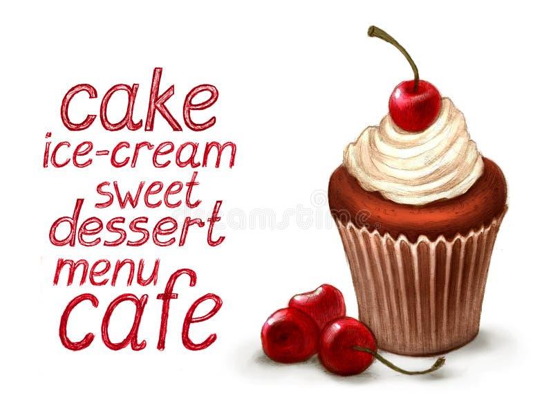 κεράσι cupcake απεικόνιση αποθεμάτων
