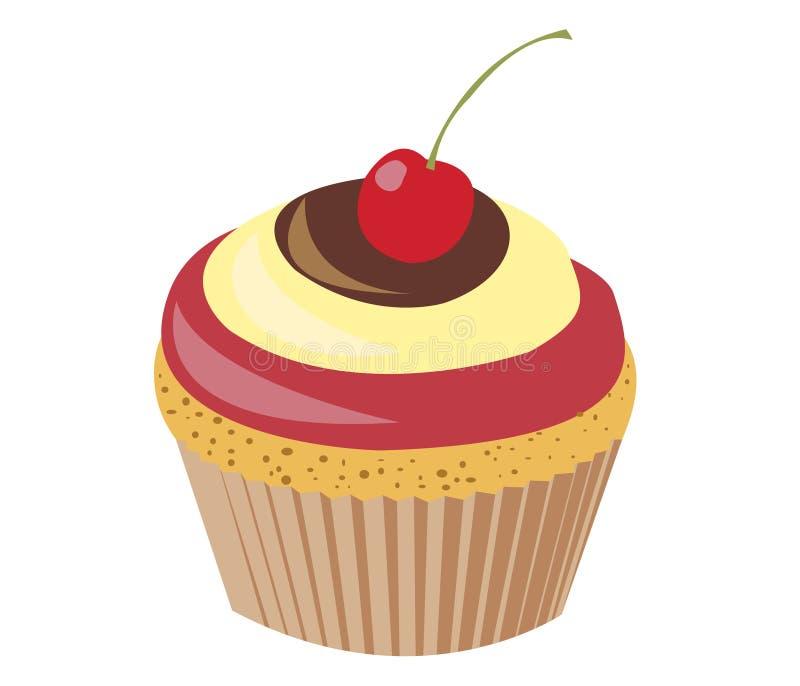 Κεράσι Cupcake στοκ εικόνα με δικαίωμα ελεύθερης χρήσης
