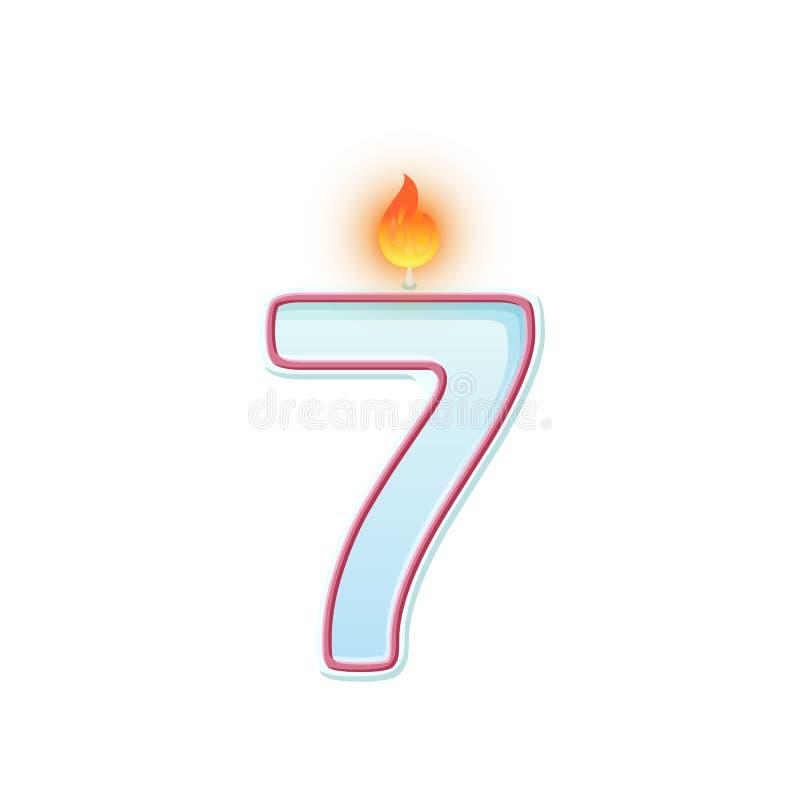 Κερί αριθμός επτά σύμβολο 7 Καίγοντας κερί Ρεαλιστικός διανυσματικός αριθμός κεριών κινούμενων σχεδίων για τα κέικ γενεθλίων απεικόνιση αποθεμάτων