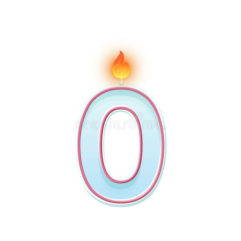 Κερί αριθμός μηδέν σύμβολο 0 Καίγοντας κερί Ρεαλιστικός διανυσματικός αριθμός κεριών κινούμενων σχεδίων για τα κέικ γενεθλίων ελεύθερη απεικόνιση δικαιώματος