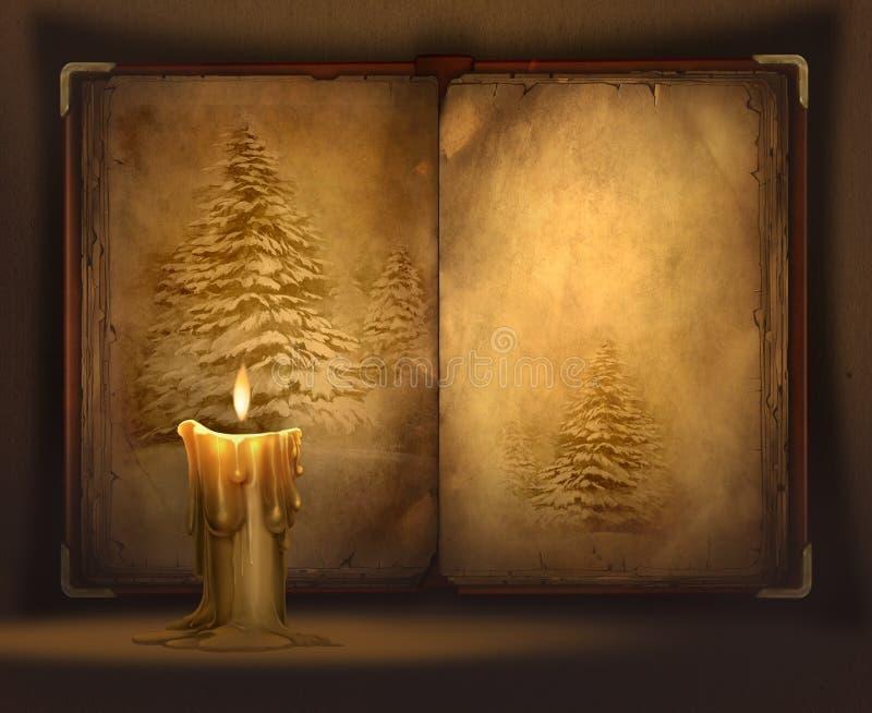 Κερί και ένα βιβλίο ελεύθερη απεικόνιση δικαιώματος