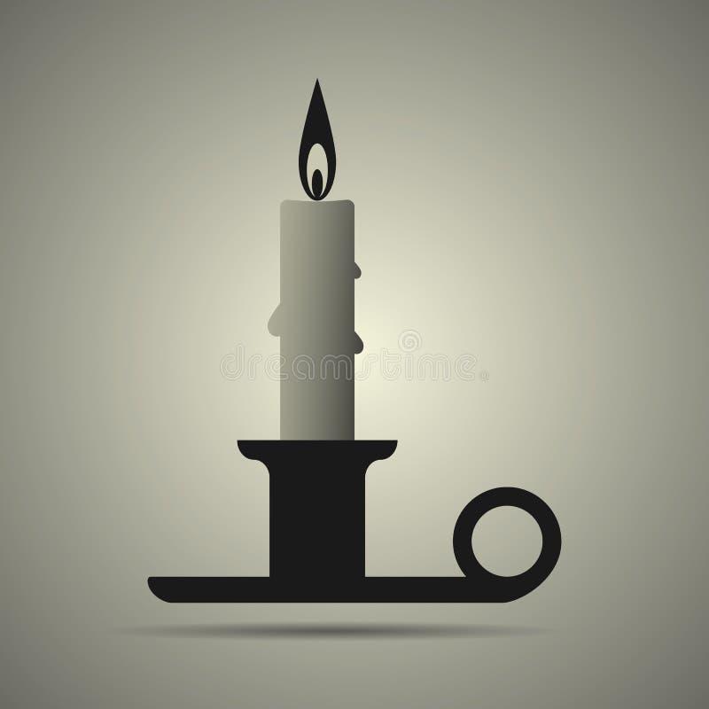 Κερί και κηροπήγιο στο επίπεδο εικονίδιο κατόχων στα γραπτά χρώματα απεικόνιση αποθεμάτων