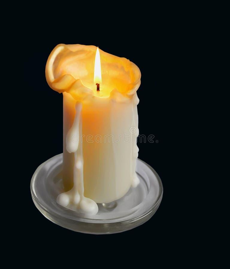 Κερί που καίει την απομονωμένη κινηματογράφηση σε πρώτο πλάνο στοκ φωτογραφία με δικαίωμα ελεύθερης χρήσης