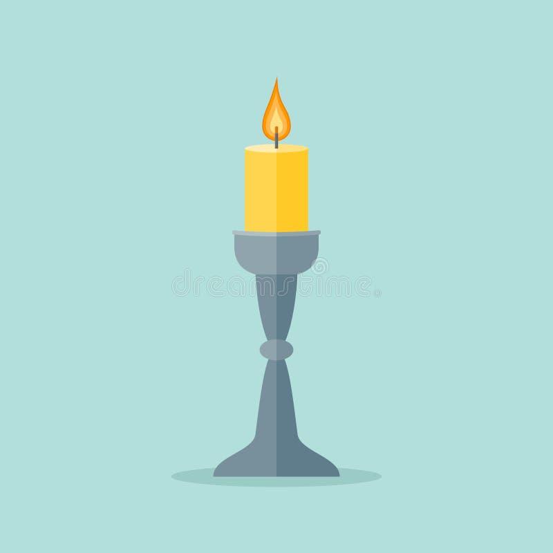 Κερί σε ένα κηροπήγιο που απομονώνεται στο υπόβαθρο Επίπεδο εικονίδιο ύφους ελεύθερη απεικόνιση δικαιώματος