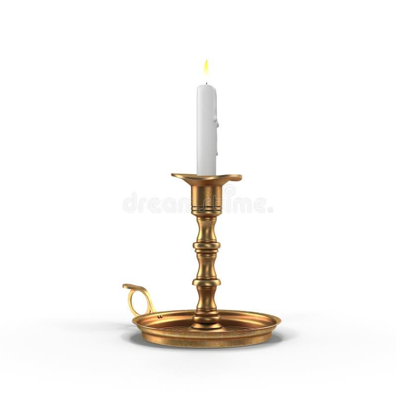 Κερί στο παλαιό κηροπήγιο που απομονώνεται στο λευκό τρισδιάστατη απεικόνιση ελεύθερη απεικόνιση δικαιώματος